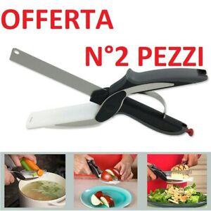 2-PEZZI-Coltello-Smart-2in1-CUTTER-IN-ACCIAIO-INOX-AFFETTATRICE-verdure-FORBICE