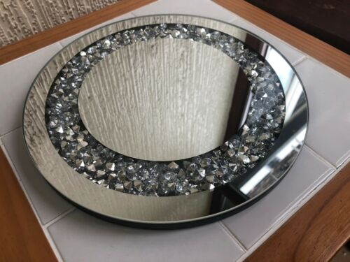 25CM CRUSHED JEWELS DIAMANTE MIRRORED CANDLE PLATE BLING WEDDING TABLE ROUND