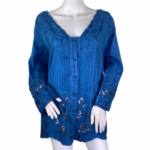 Soft Surroundings Blue Tie Dye Esme Button Front 3/4 Sleeve Lace Top NWT Large