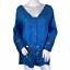 thumbnail 1 - Soft Surroundings Blue Tie Dye Esme Button Front 3/4 Sleeve Lace Top NWT Large