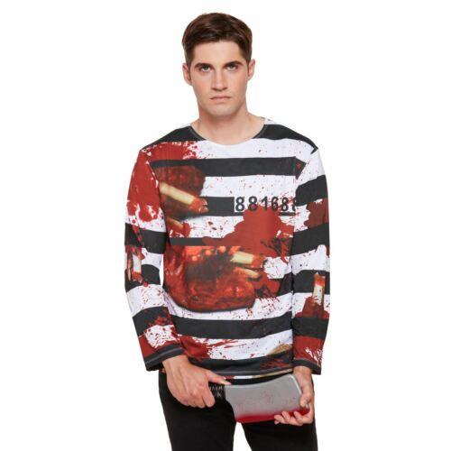 MEN/'S ZOMBIE PRISONER SHIRT COSTUME ADULT FANCY PARTY DRESS HALLOWEEN OUTFIT