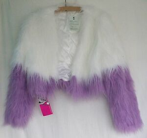 Brand-New-LE-Obscure-Couture-Large-Fluffy-Snow-amp-Lavender-Cropped-Womens-Jacket