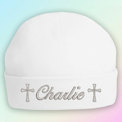 Christening Name Embroidered Baby Beanie Hat Gift Personalised