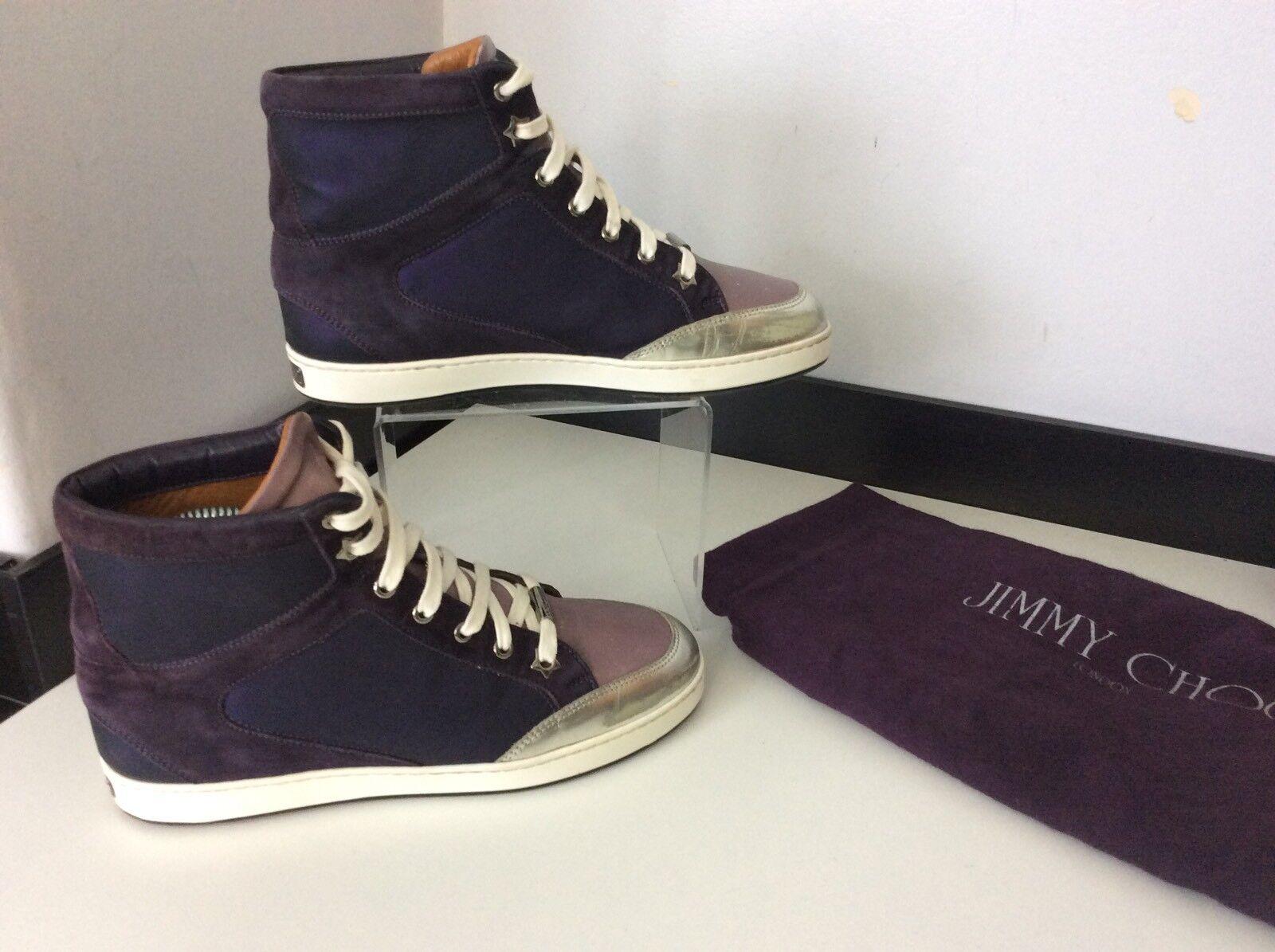 Zapatos De Cuero Jimmy Choo púrpura Hi Top Botas Reino Unido 3.5 en muy buena condición De Gamuza