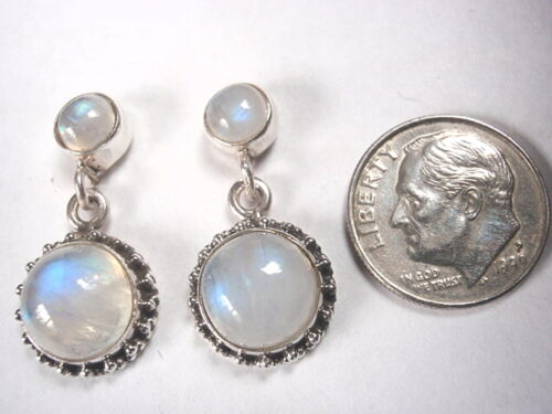 Moonstone Double Gem 925 Argent Sterling Boucles D/'oreilles Clou with Silver Dot Accents