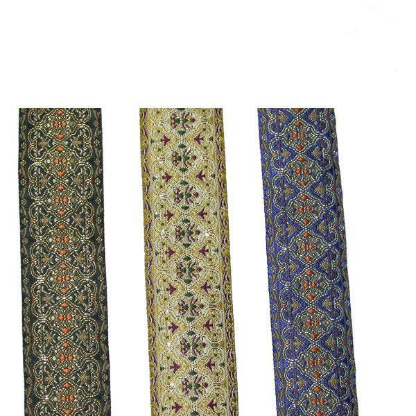 "1.1/8"" (28mm) Ornate Jacquard Ribbon Trim x 1 yd or pre cut length"