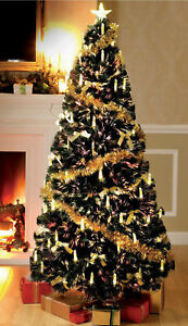 EX 6FT SILVER GOLD PRE LIT FIBRE OPTIC & LED CANDLE TREE ...