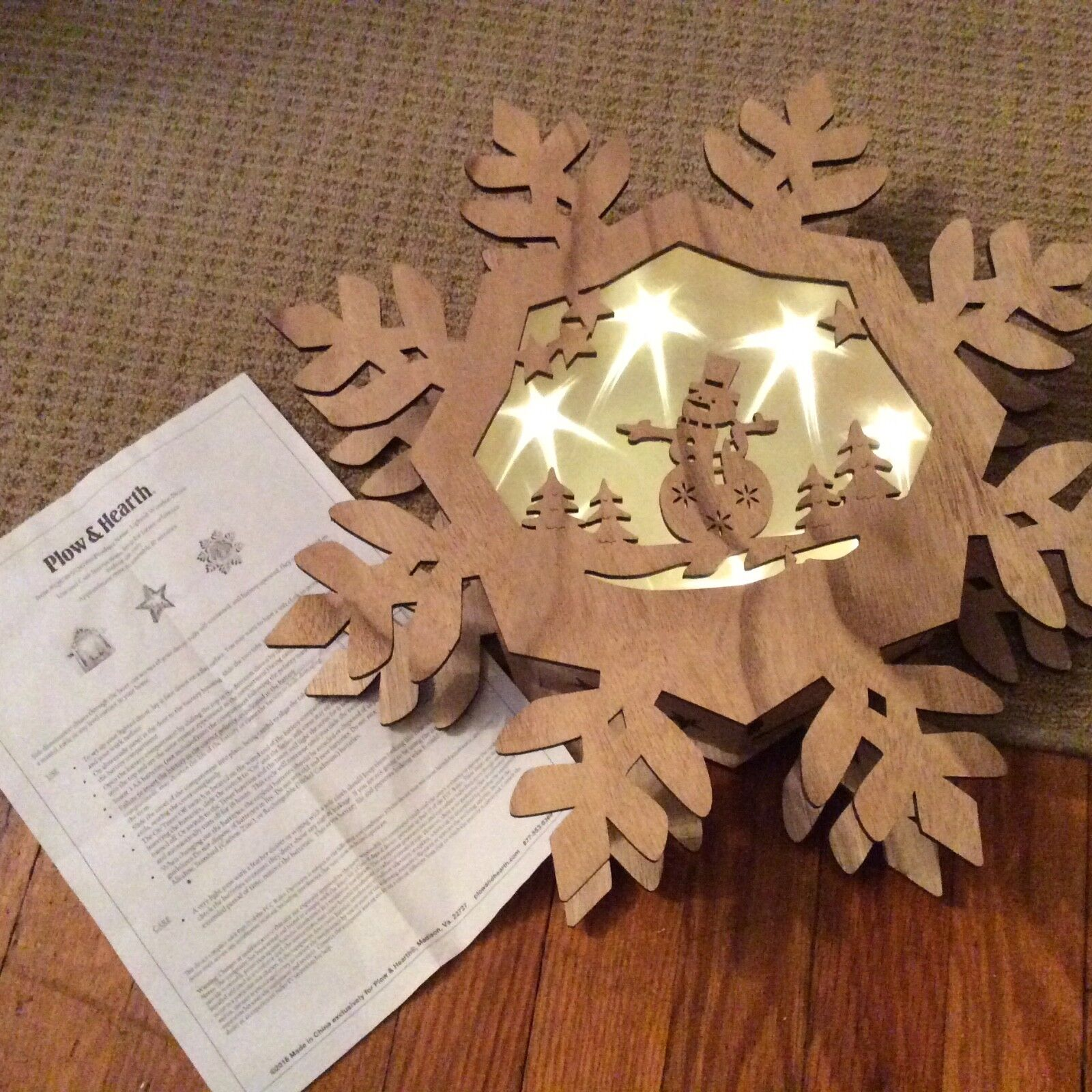 Plow & Hearth Lighted Wooden Snowflake with Scene and Timer Feature