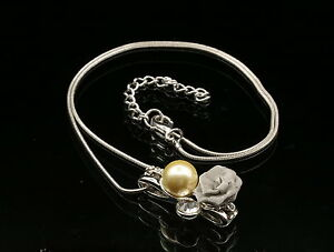NEW SILVER ROSE WITH SILVER//CLEAR PEARLS AND CRYSTALS