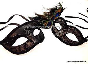 Couple Masquerade Ball Mask Metallic Steampunk Mardi Gras Carnival Costume Prom