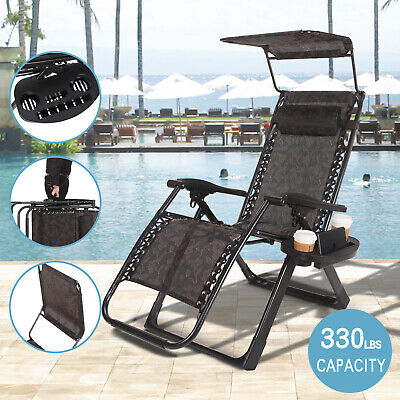 Pleasing Folding Black Heavyduty Zero Gravity Chair Lounge Pool With Canopy Holder Handle Ebay Theyellowbook Wood Chair Design Ideas Theyellowbookinfo