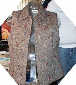 8 Talbots Brown Tweed Størrelse Broderi Vest Uld Designer Kvinder aRqZWpW
