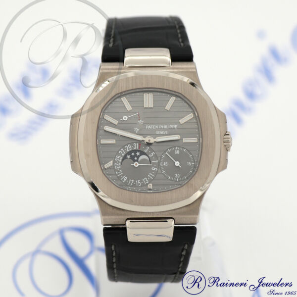 cf814dbe66f Patek Philippe Nautilus Moon Auto 40mm White Gold Mens Strap Watch 5712g-001  for sale online