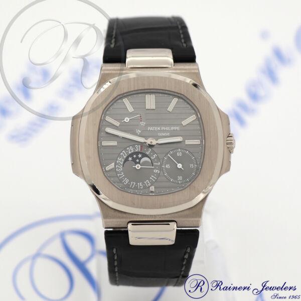 d2a0480b416 Patek Philippe Nautilus Moon Auto 40mm White Gold Mens Strap Watch 5712g-001  for sale online