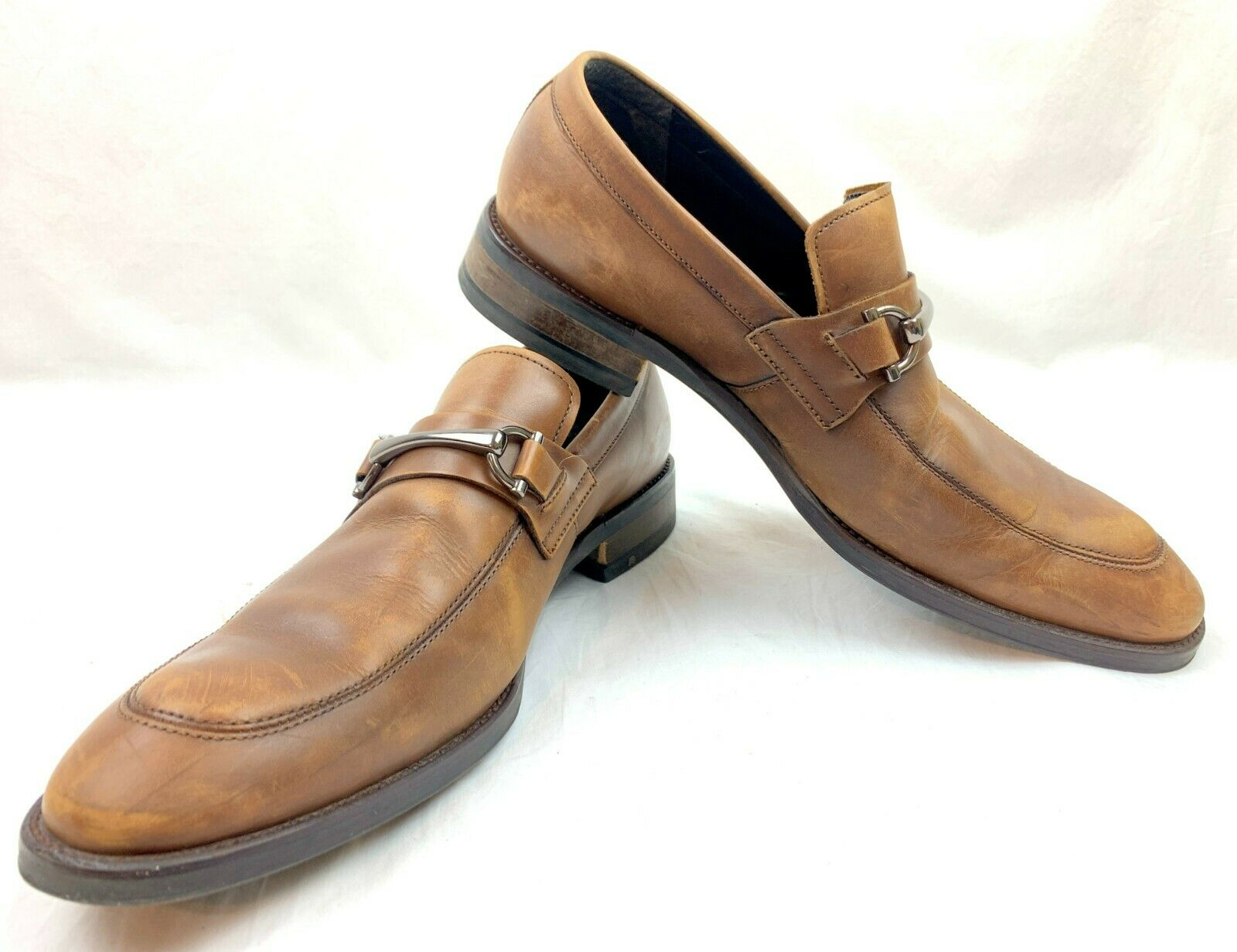 Kenneth Cole Men's Loafers Gathering Brown Leather Horsebit Slip On Shoes Size 9