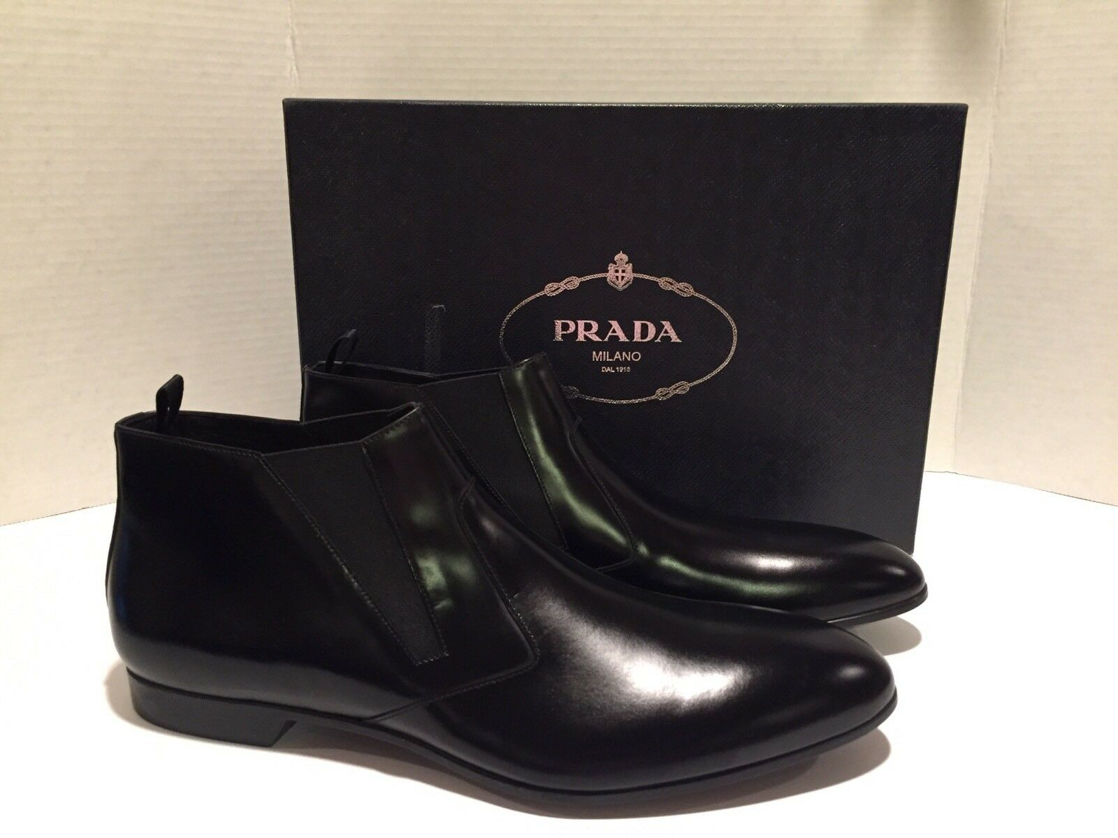 Prada Men's Ankle Boots Water Repellent Leather Black 10  795 NWB