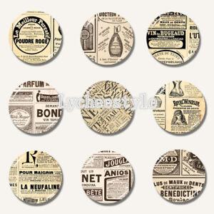 Details about Vintage Old Newspaper Glass Fridge Magnet Round Refrigerator  Cabochon Stickers