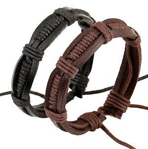 Fashion-Men-Women-Punk-Leather-Weaved-Bangle-Cuff-Bracelet-Wristband-Adjustable