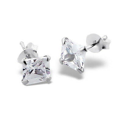 Solid 925 Sterling Silver 6mm Princess Cut Simulate Diamond Stud Earrings Square