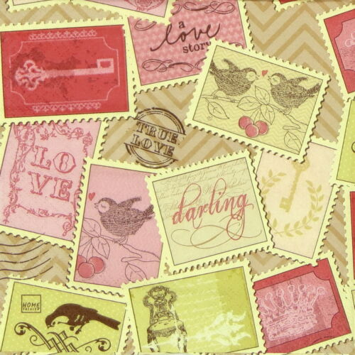 4x Paper Napkins for Decoupage Craft Vintage Romantic Stamps