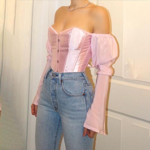 Womens Long Sleeve Off Shoulder Backless Bandage Corset Crop Tops Blouse T-Shirt