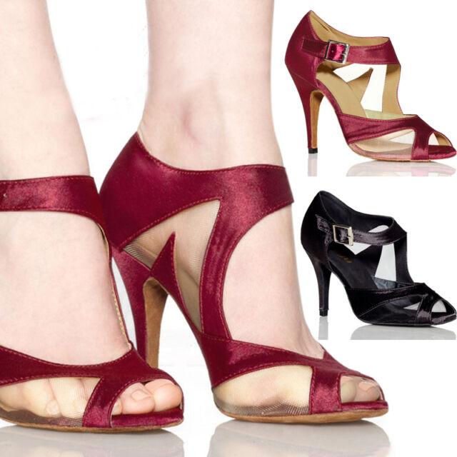 Sweet Women Satin Ballroom Salsa Latin Dance Shoes Tango Retro Heeled Shoe Style