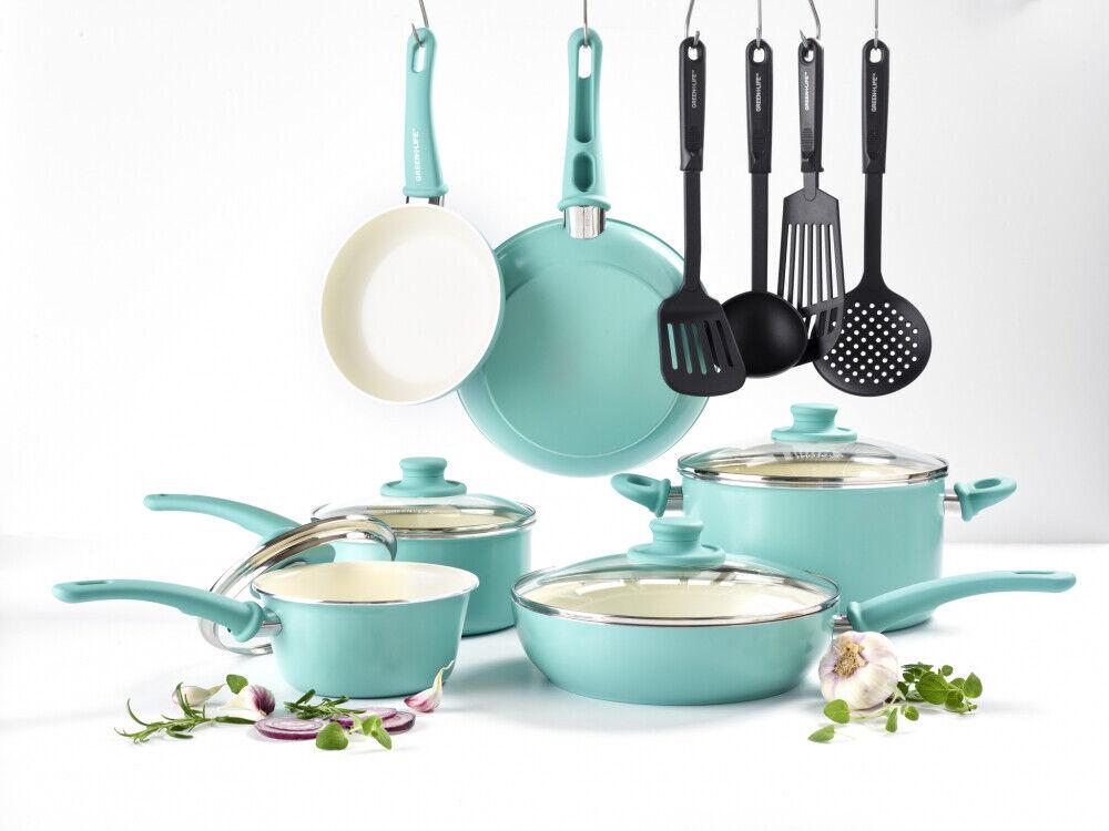 Healthy Choice Céramique Antiadhésif Cookware Set de cuisine Casseroles Turquoise 14