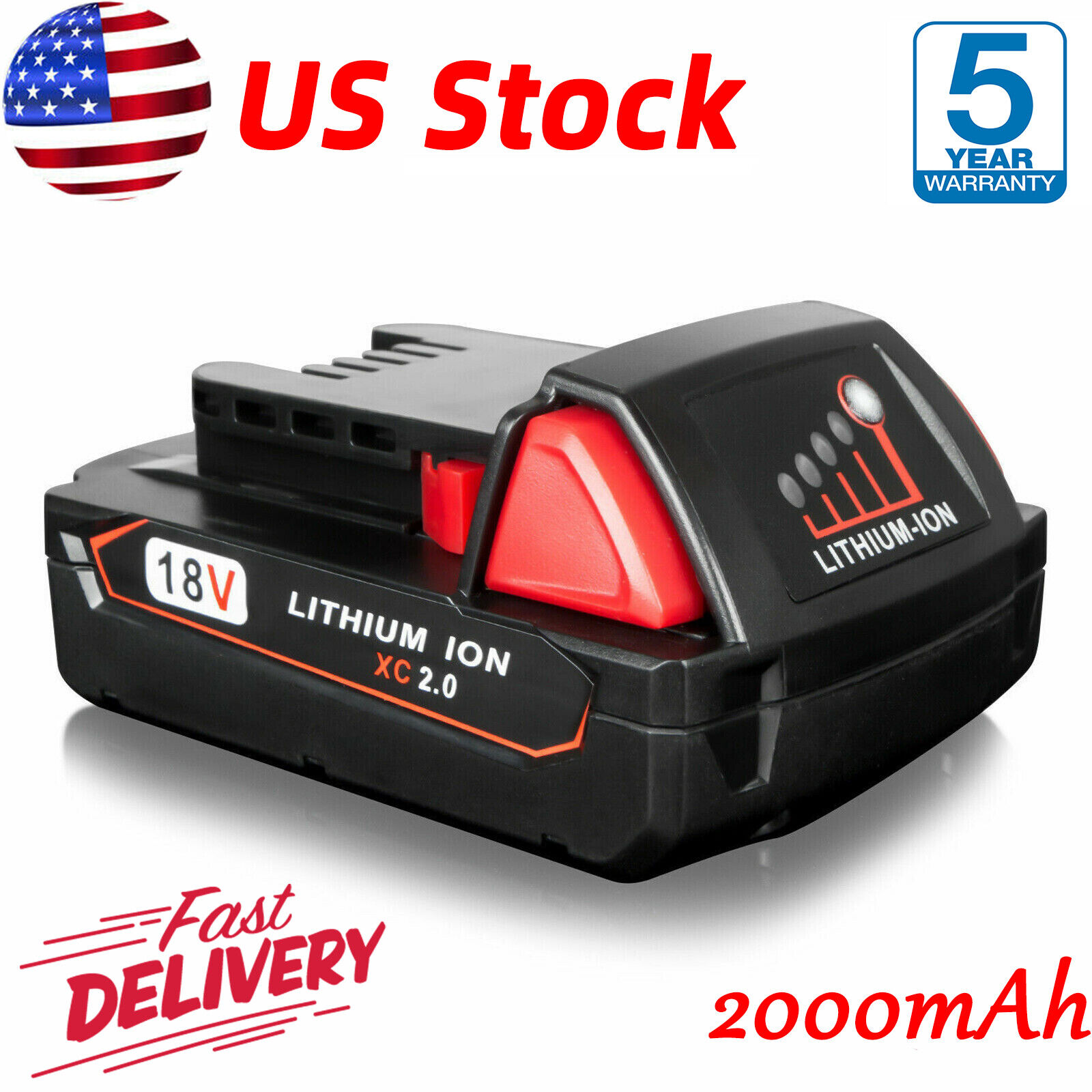 for Milwaukee 48-11-1815 M18 Compact Ion Battery 18Volt 18V