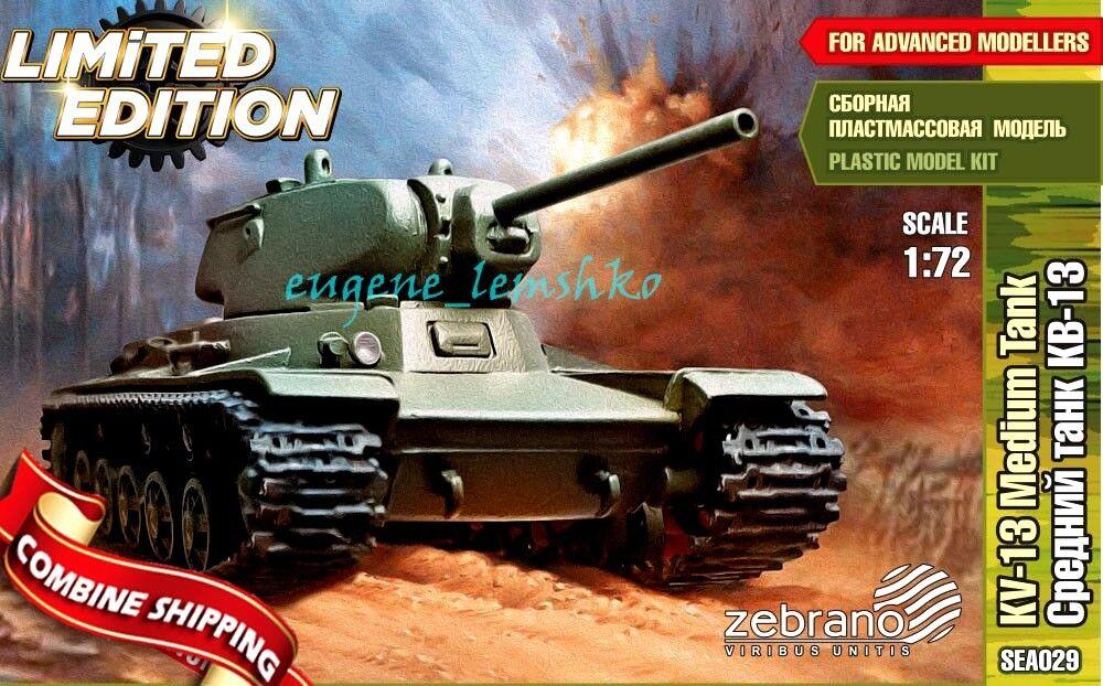 Zebrano SEA029 Soviet Medium Tank KV-13 with KV Chassis WWII Model Kit 1 72
