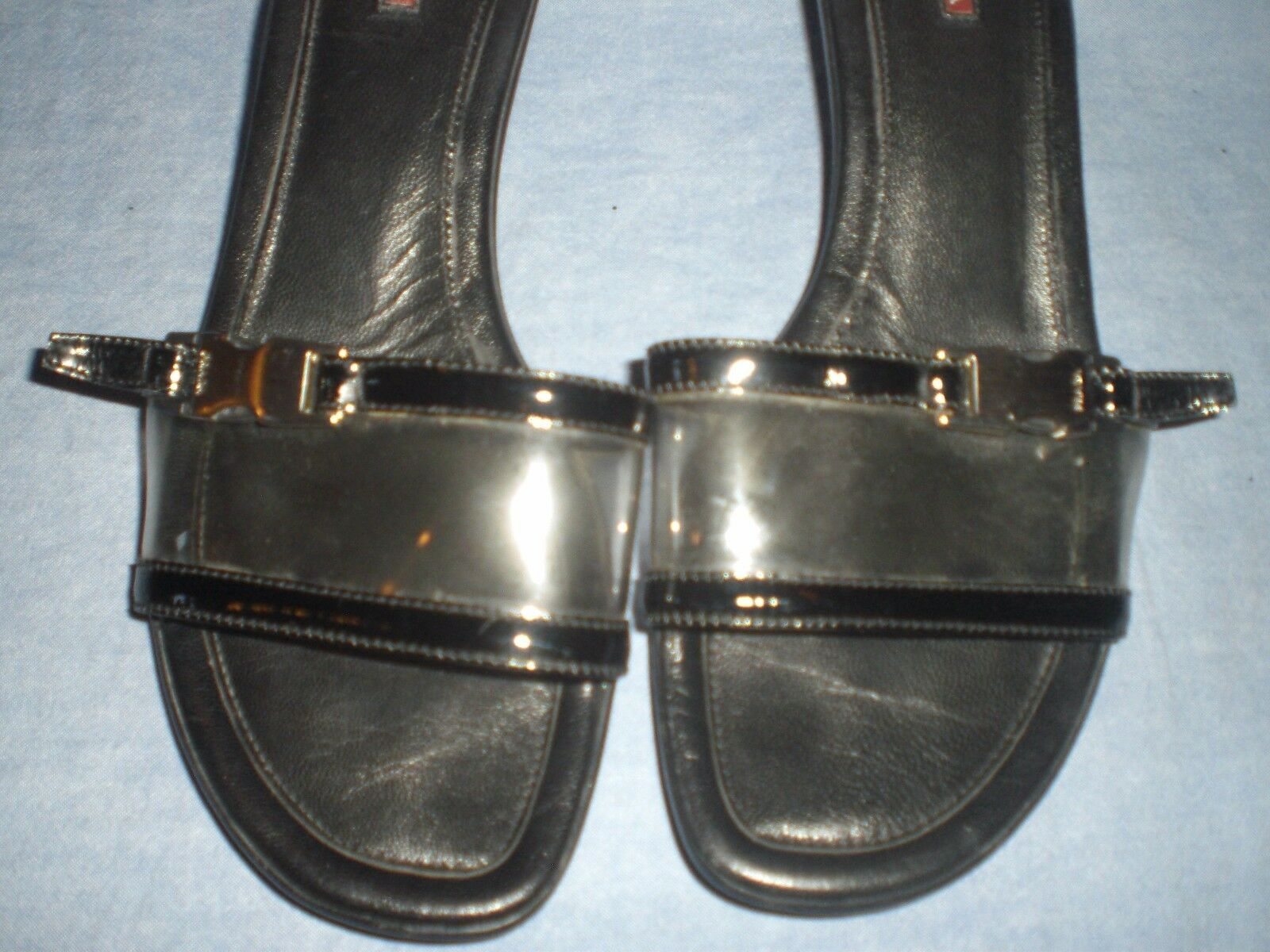 PRADA -  Patent Leather Leather Leather Kitten Heel Sandals Slides  SIZE 39 367ae3