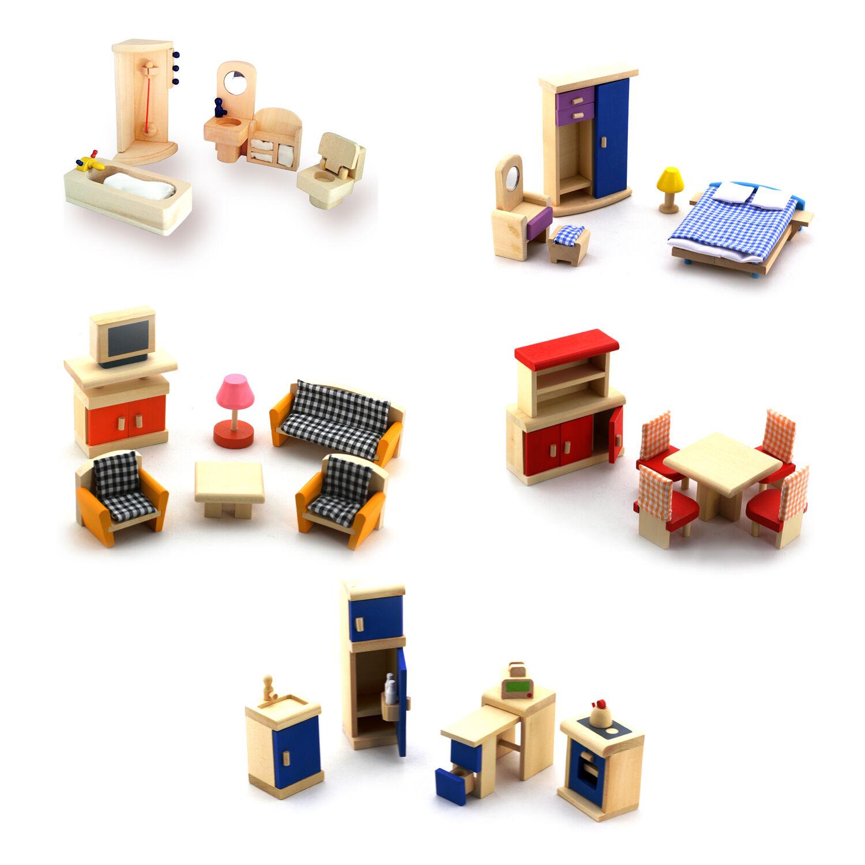WOODEN bambola house  furniture Set di 5 camere fingere gioco regalo giocattoli bambini  ci sono più marche di prodotti di alta qualità