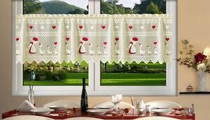 Cream-Cafe-Net-Curtain-Lace-Geese-24-034-drop-Price-Per-Metre-Interior-Decor