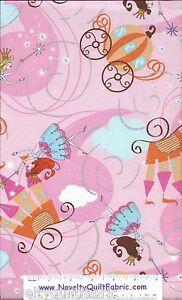 Cinderella-Pumpkin-Coach-Princess-Glass-Slipper-Novelty-Quilt-Fabric-BTY