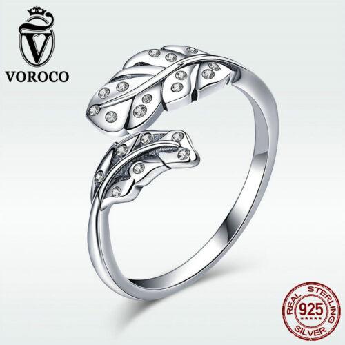 Voroco élégante feuille argent sterling 925 Doigt Anneau Zircone Cubique Thai Bijoux Grande
