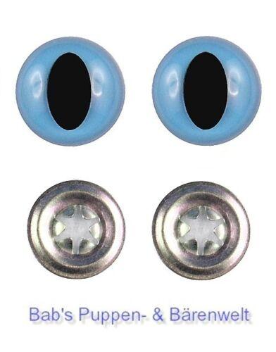 1 Paar Sicherheitsaugen Katzenaugen lange Pupille hellblau 16 mm