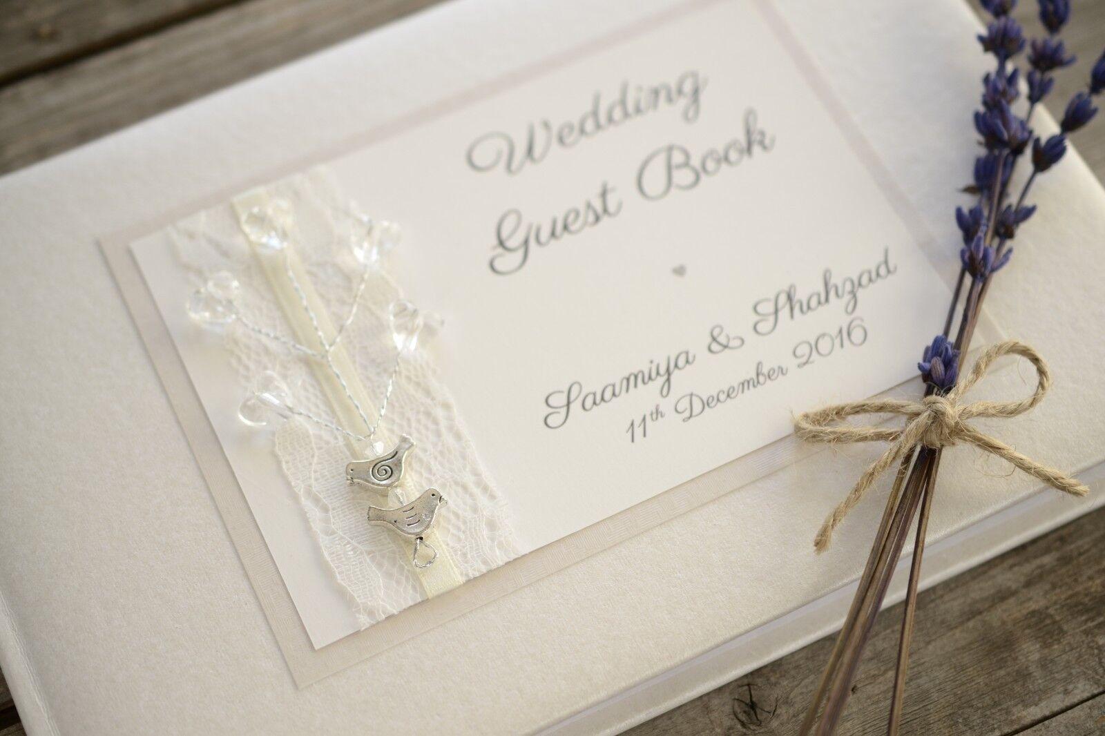Personalizzato wedding guest Design-AVORIO book-Handmade Love Uccello Design-AVORIO guest guest book. cede69