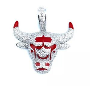 Sterling-Silver-925-Ram-Horns-With-Red-Enamel-Pendant-Cubic-Zirconia-CZ