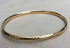 "14k Solid Yellow Gold EG Eterna Gold Hinged Bangle Bracelet 7"" 3.8g,Costa Rica"