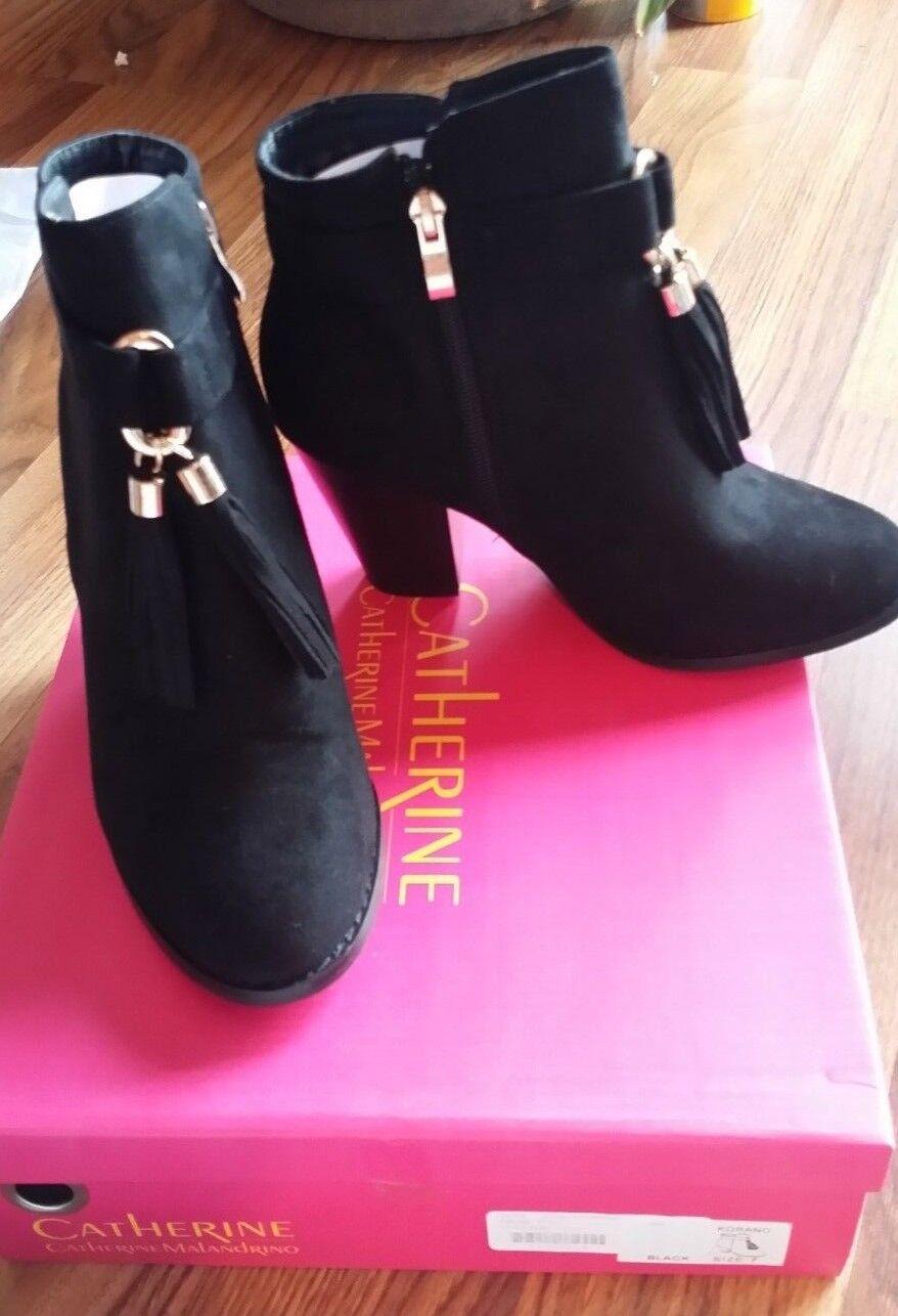 CATHERINE MALANDRINO Korano BLACK Tassel BOOTIE Size 7 NEW  NIB FREE SHIPPING
