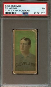 1909-11-T206-Old-Mill-CY-YOUNG-Cleveland-PORTRAIT-Baseball-PSA-1-Low-POP-RARE