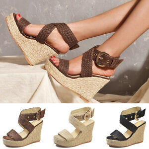 Womens-Wedge-Platform-Heel-Espadrilles-Sandals-Ankle-Strap-Casual-Shoes-Size-6-9