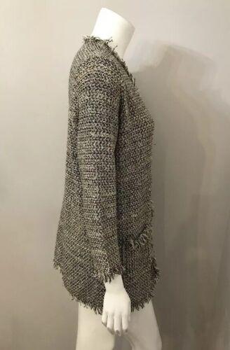 Lungo Rosa Grigio Joie Frangia Cardigan Tweed Tasche Con Maglione FzAqxXw