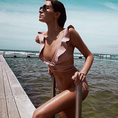 Women Bandage Bikini Set Brazilian Striped Ruffle Flounce Swimwear Bathing Suit
