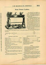 1915 AD Foot Power Lathe Pedal Wood Lathes Engine Power