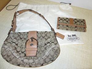 Coach-Handbag-Tan-Leather-Brown-Jacquard-Signature-Print-Purse-Wallet-amp-DustBag