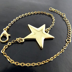 FSA576-GENUINE-REAL-18K-YELLOW-G-F-GOLD-GIRLS-STAR-DESIGN-CHARM-BRACELET-BANGLE
