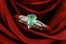 0.45 carat Pear Shape Green Emerald with Tapered Baguette Diamond Gemstone Ring