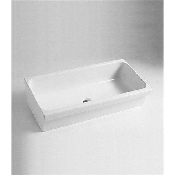 Lavabo Lavandino bagno Modello a Canale moderno in ceramica bianco - 2 misure