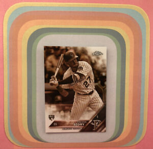 TREVOR STORY #45 Rookie Sepia Parallel 2016 Topps Chrome Rockies Yankees RC