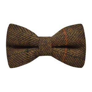 Krawatte und Einstecktuch aus Tweed Senfgelb kariert
